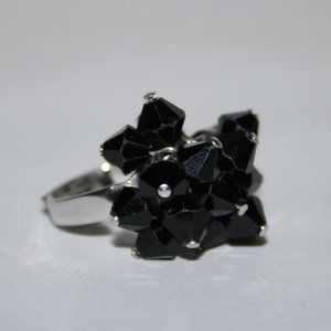 Fun silver and black beaded ring adjustable